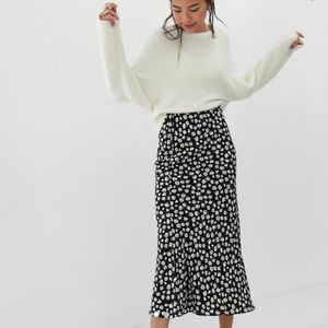 ASOS Bias Cut Daisy Floral High Waist Maxi Skirt